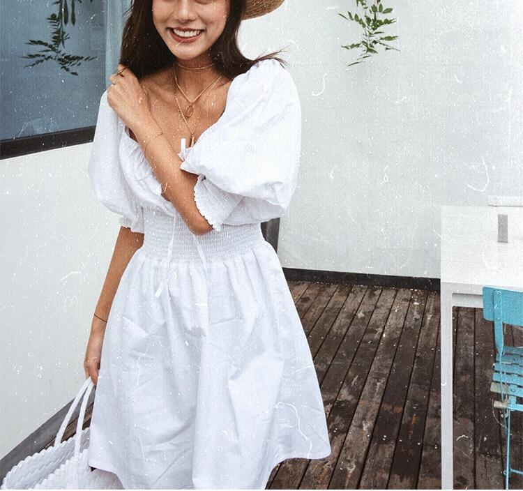 2019 summer Women Vintage Frill Trim square Neck Lace Up Waist Cotton white short Dress with Puff Short Sleeve hollow out front