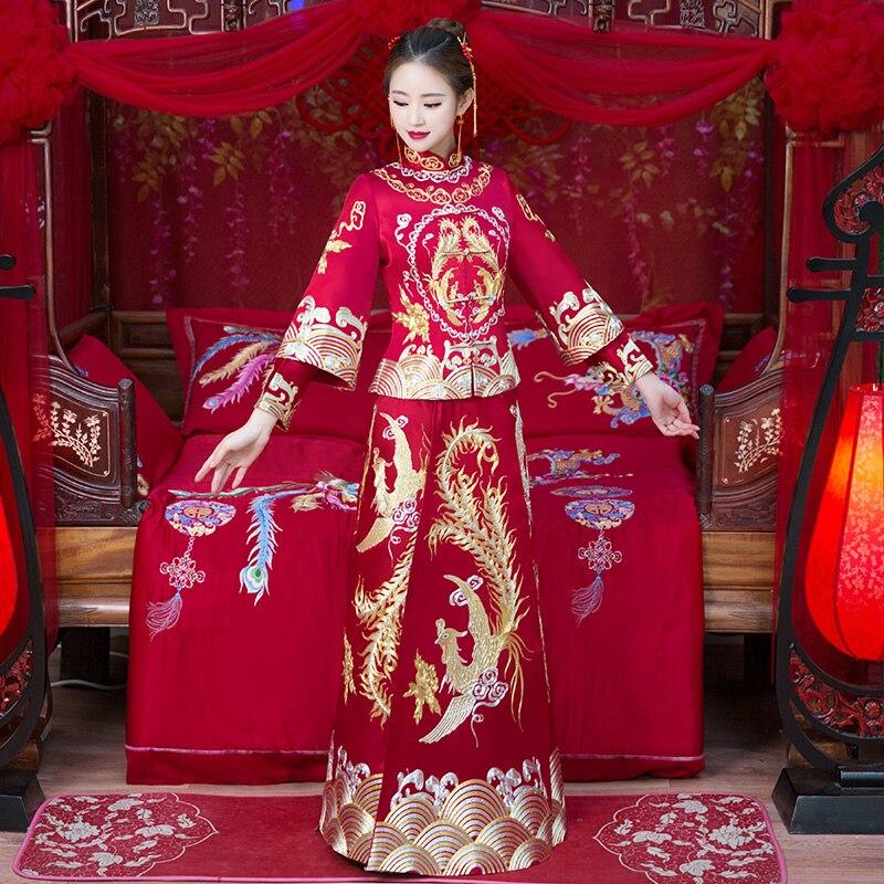 Chinese Traditional Women Marriage Set Exquisite Embroidery Phoenix Cheongsam Rhinestone Vestidos Bride Wedding Party Dressing