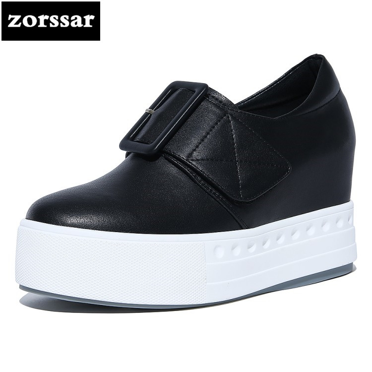 {Zorssar} 2018 New Fashion buckle Casual womens shoes Slip on Wedges height increasing High heels pumps women Platform shoes summer breathable hollow casual shoes women slip on platform flats shoes fashion revit height increasing women shoes h498 35