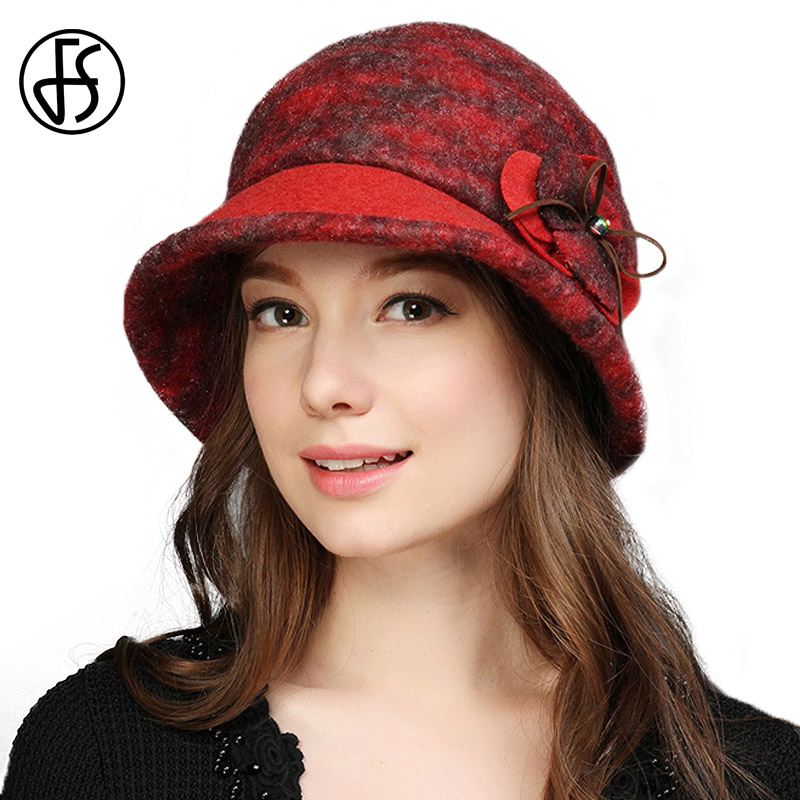 a0e54c9f295 FS Autumn Winter Fedora Hats For Women Retro Wool Felt Bowler Wide Brim  Fashion Female Church