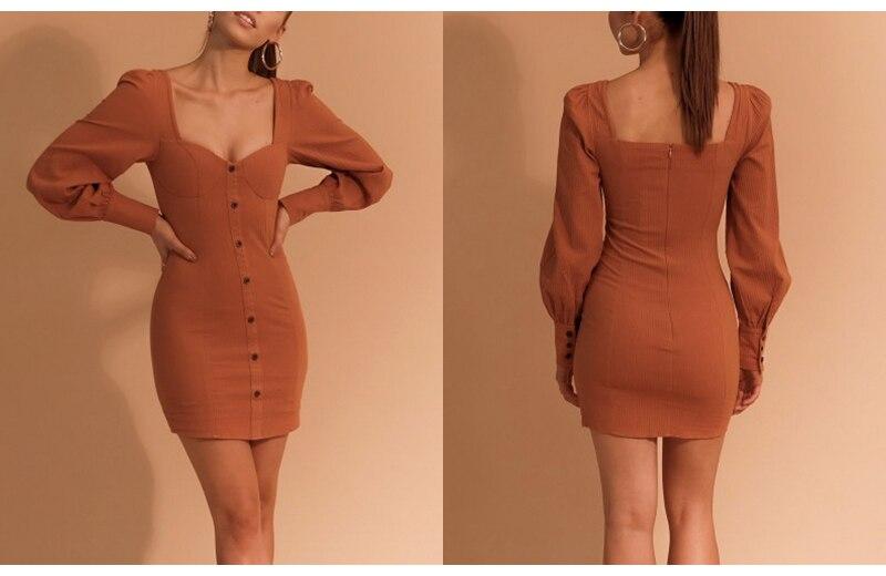 BerryGo Sexy bodycon mini dress Autumn winter 2018 casual button cotton dress women Elegant long sleeve ladies dresses female 5
