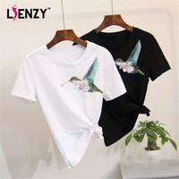 LIENZY Bird Diamond T Shirt Short Sleeve O Neck Boyfriend Loose Women Sequined TShirts Tops