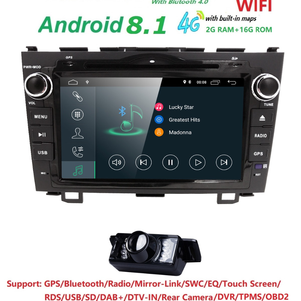 HD Quad Core A7 4 * 1,2 GHz 1024X600 Android 8,1 Car DVD predvajalnik za Honda CRV CR-V 2006-2011 4G WiFi GPS Navigacija Stereo Video SD