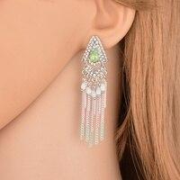 Terreau Kathy Bohemian Temperament Long Retro Earrings Drop Rhinestone Personalized Alloy Chain Tassel Earrings For Women