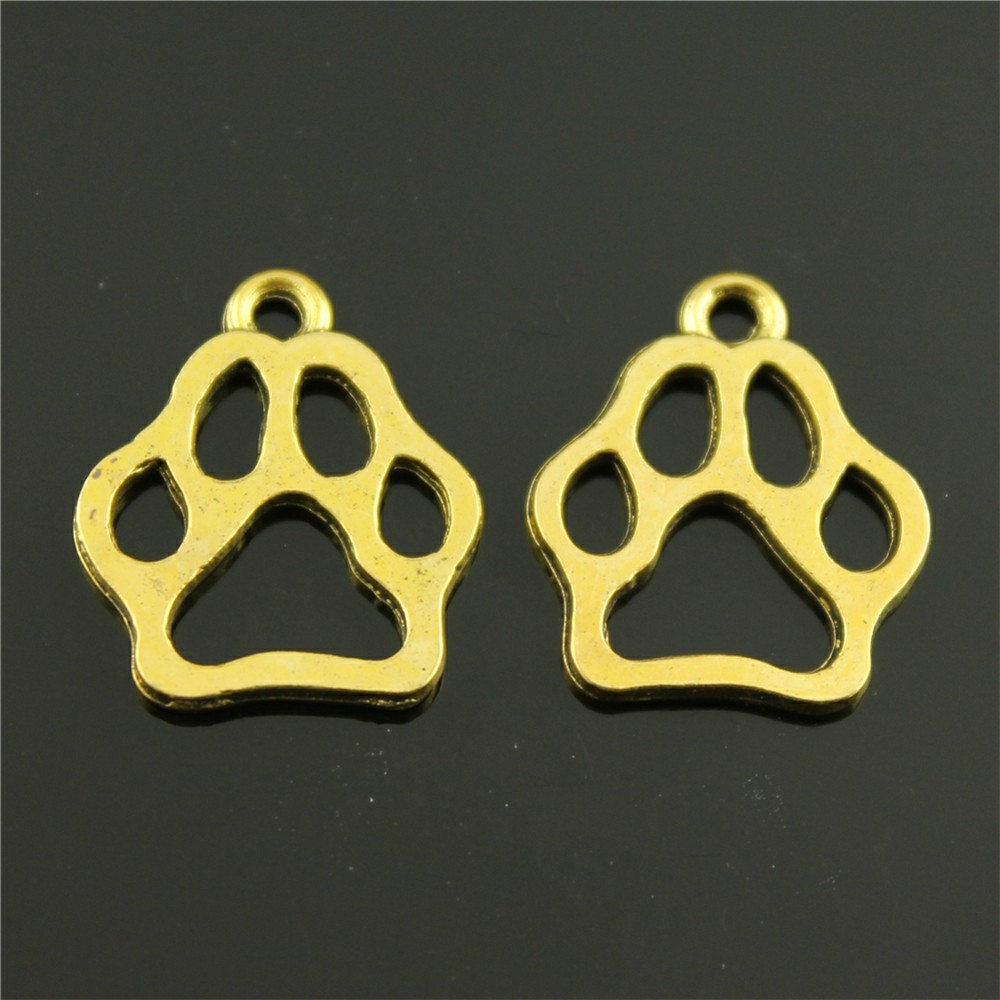 Bright 15pcs 3 Colors Antique Bronze Antique Gold Hollow Paw Charms For Jewelry Making Dog Paw Charms 17x19mm Durable In Use Antique Silver