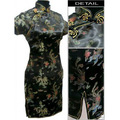 Black Chinese Women's Satin Cheongsam  Qipao Evening Wedding Mini Dress Plus size