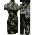 Black Chinese Women's Satin Cheongsam  Qipao Evening Wedding Mini Dress Plus size