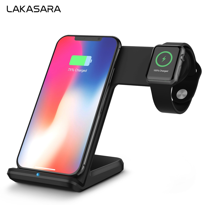 цена на 2 in 1 Wireless Charger Pad For iPhone X 8 Plus Battery Charging Dock Holder For Samsung Galaxy Note 8 / S9 / S8 For Apple Watch