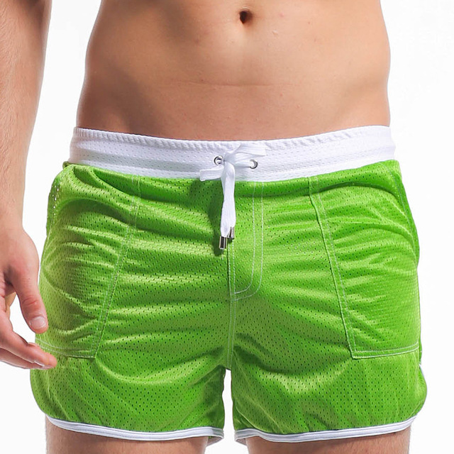 Summer Men Beach Shorts Breathable Mesh Bermuda Bathing Suit Boxer Trunks Man Clothing Good Quality with Mesh Briefs Lining