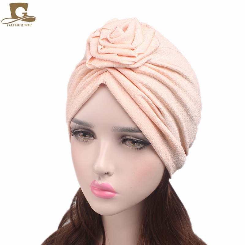 New Fashion Women's Headband Elegant Rose Flower Turban Beanie Chemo Cap Ladies Bandanas Head wrap Woman Hat Turbante metting joura vintage bohemian green mixed color flower satin cross ethnic fabric elastic turban headband hair accessories