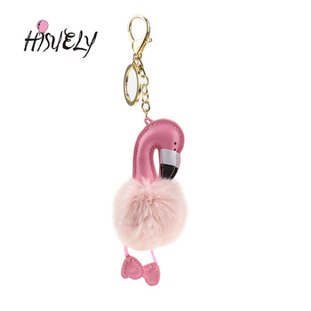 2019 New novelty mini bag charm flamingo Faux Fur key bag charm gift for children girls cute emoji pendant NL11 grande bolsas femininas de couro