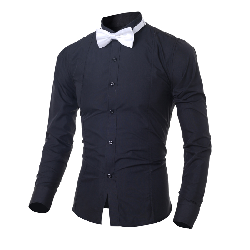 2016 New design stylish fashion classic men's shirts with bowtie M-2XL long sleeve pure color  young man formal shirt Slim fit