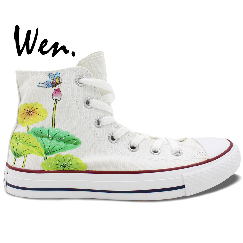Wen White Hand Painted Shoes Original Design Custom Chinoiserie Butterfly Lotus Men Womens High Top Canvas SneakersWen White Hand Painted Shoes Original Design Custom Chinoiserie Butterfly Lotus Men Womens High Top Canvas Sneakers