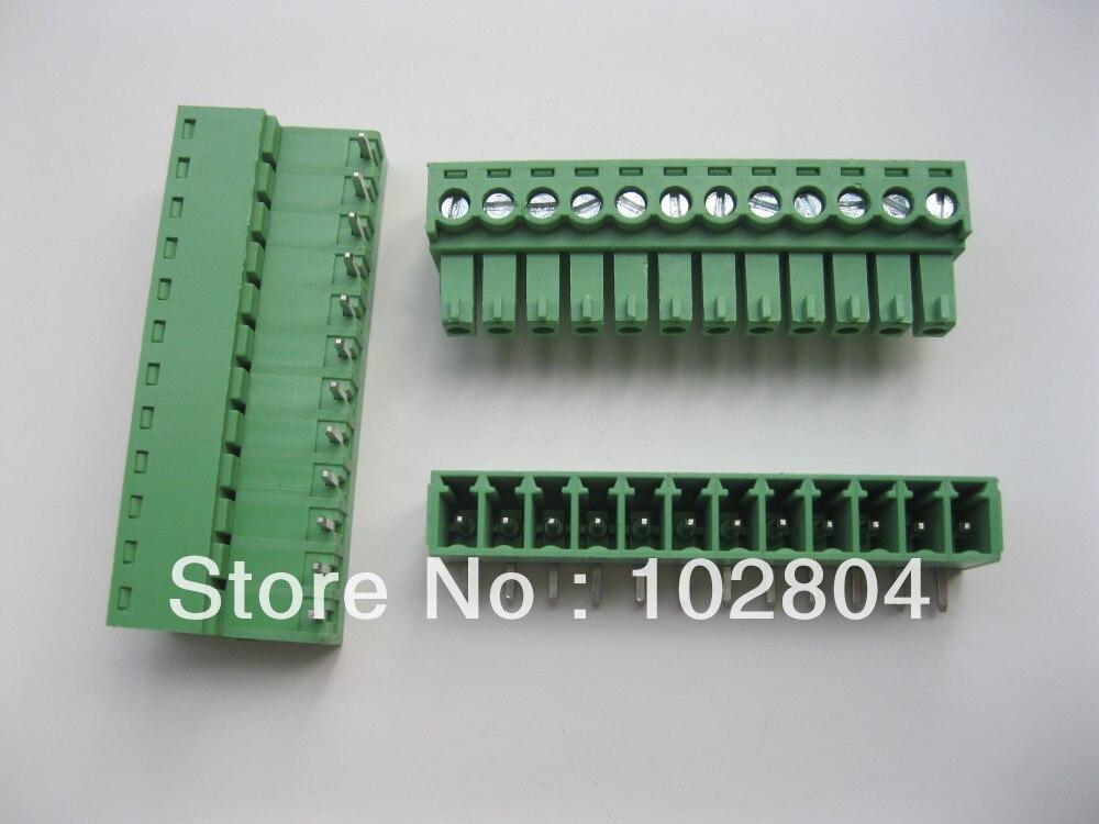 30 шт./партия винтовой клеммный блок разъем 3,81 мм угол 12 способ/pin Зеленый подключаемый тип высокое качество горячая распродажа