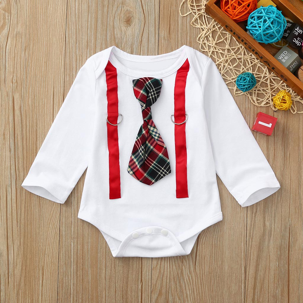 Newborn Kids Baby Boys Clothes Long Sleeve Plaid Tie Gentleman   Romper   Baby Boy   Romper   Summer