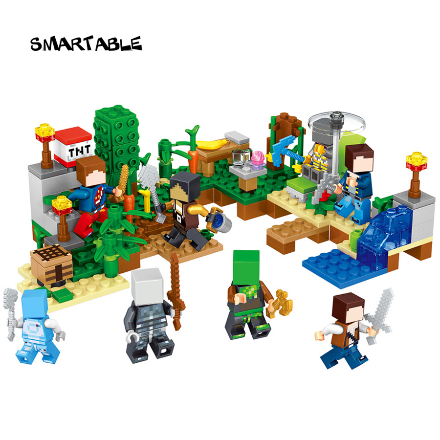 Smartable 8set/lot Minecrafted Style 33028 Building Block Zombie Steve Pigman Skeleton Lepin Compatible legoing Minecrafted Toy фигурка minecraft adventure zombie pigman 10 см