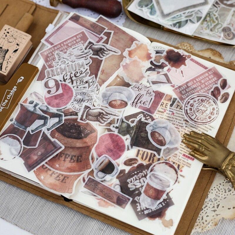 64 Pcs/Bag Vintage Coffee Story Washi Paper Sticker Decoration Stickers DIY Ablum Diary Scrapbooking Label Sticker