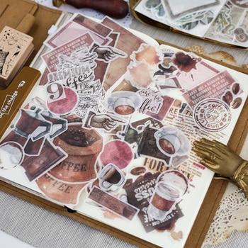 64 unids/bolsa café historia washi pegatina de papel para decoración pegatinas DIY tu álbum de recortes diario etiqueta engomada de la etiqueta