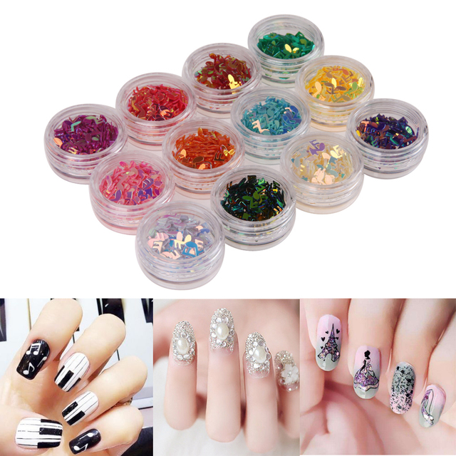 12 Boxes Nail Art Sequins Stickers Colorful Music Note Shape Nail ...