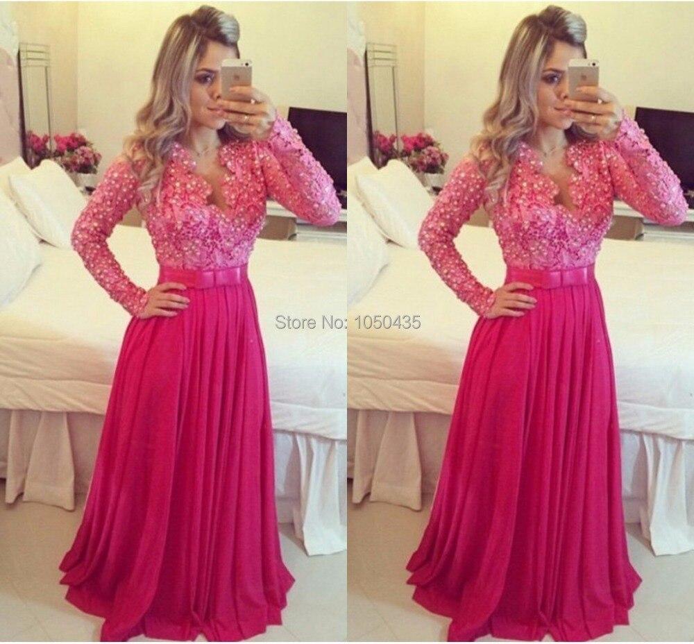 Elegant Peach Color de vestido de fiesta Rhinestone Sequin rebordeó ...