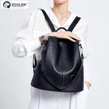 Купить с кэшбэком ZOOLER Genuine Leather bags women backpacks Elegant Black backpack super soft school bag travel bags high quality Bolsas#Z186