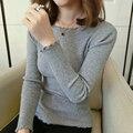 Nuevo otoño primavera Raya Vertical cuello apretada del todo-fósforo básico delgado Volantes camisa de manga larga mujer suéter suéter superior