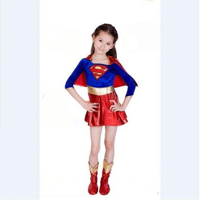 2017 new child supergirl sexy girl super hero costume cosplay party for super girl costume kids - Super Heros Fille