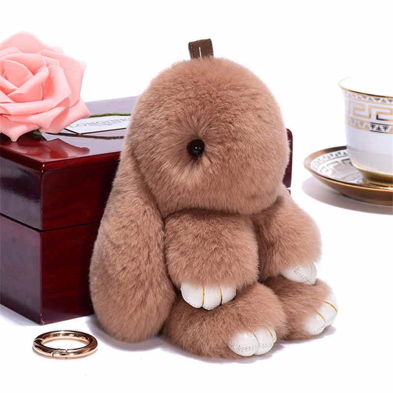 Pluff 14 CENTÍMETROS bonito chaveiro coelho Rex pele de coelho simulação keychain ladies bag toy boneca fluffy Pom Pom bonito pompom keychain