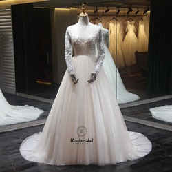 Vintage Lange Ärmeln Hochzeit Kleider 2018 V-ausschnitt A-linie Gericht Zug Appliques Tüll Brautkleider Vestido de noiva casamento