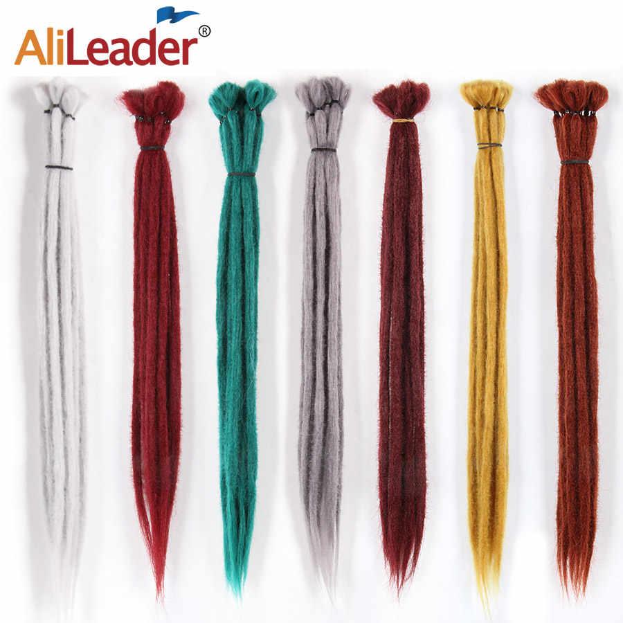AliLeader 20 pulgadas hecho a mano trenzas con ganchillo extensiones de cabello trenzado para mujeres/hombres rosa azul Ombre pelo sintético de ganchillo 1 raíz