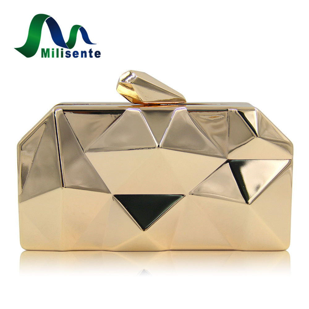 Milisente Handbags Women Metal Clutches Top Quality Hexagon Mini Party Black Evening Purse Silver Bags Gold Box Clutch party box black