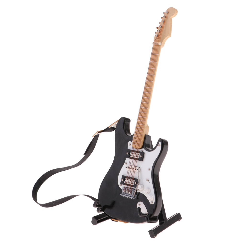 1/6 Dollhouse Music Instrument Ornament Miniature Electric Guitar With Stand, Doll House Decor Accessories