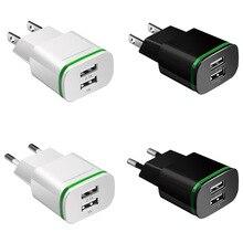 """טלפון מטען 2 יציאות USB מטען האיחוד האירופי ארה""""ב Plug LED אור 5 v/2a קיר מתאם טלפון נייד טעינה עבור iPhone iPad סמסונג HTC"""