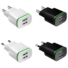 Phone Charger 2 Ports USB Charger EU US Plug LED Light 5v/2a Wall Adapter Mobile Phone Charging For iPhone iPad Samsung HTC