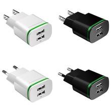 Telefoon Oplader 2 Poorten USB Charger EU US Plug LED Light 5 v/2a Muur Adapter Mobiele Telefoon Opladen voor iPhone iPad Samsung HTC