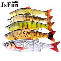 JSFUN 5PCS 12cm 17g 4 Segement Pike Lure With Mouth Plastic Fishing Lure Hard Bait With