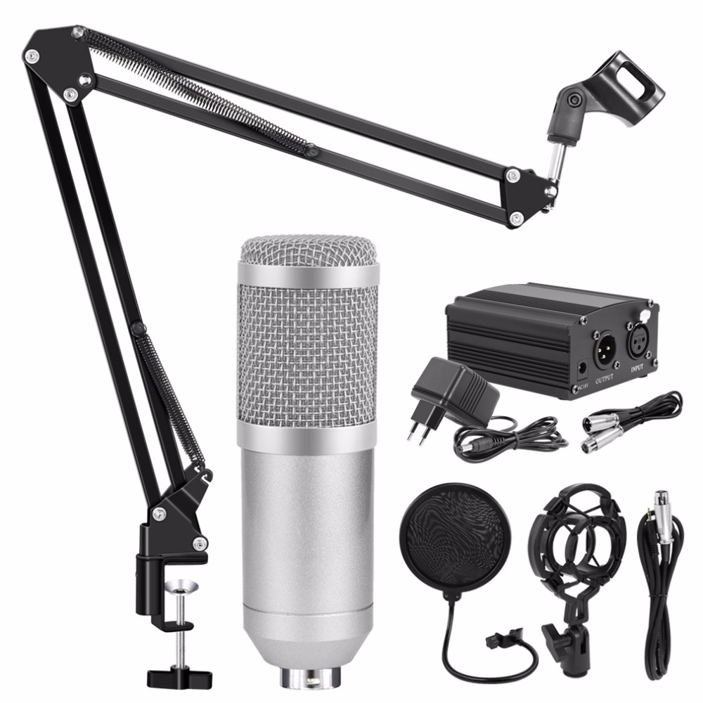 Profesional BM 800 micrófono de Karaoke micrófono de condensador Kits paquete Mikrofon para computadora Microfone para Audio Vocal registro