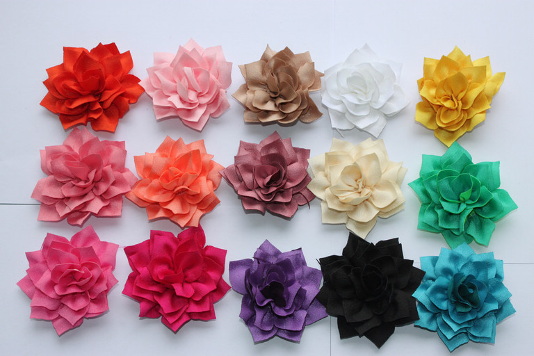 comercio al por mayor de flores de tela para diy diadema flores de la cinta