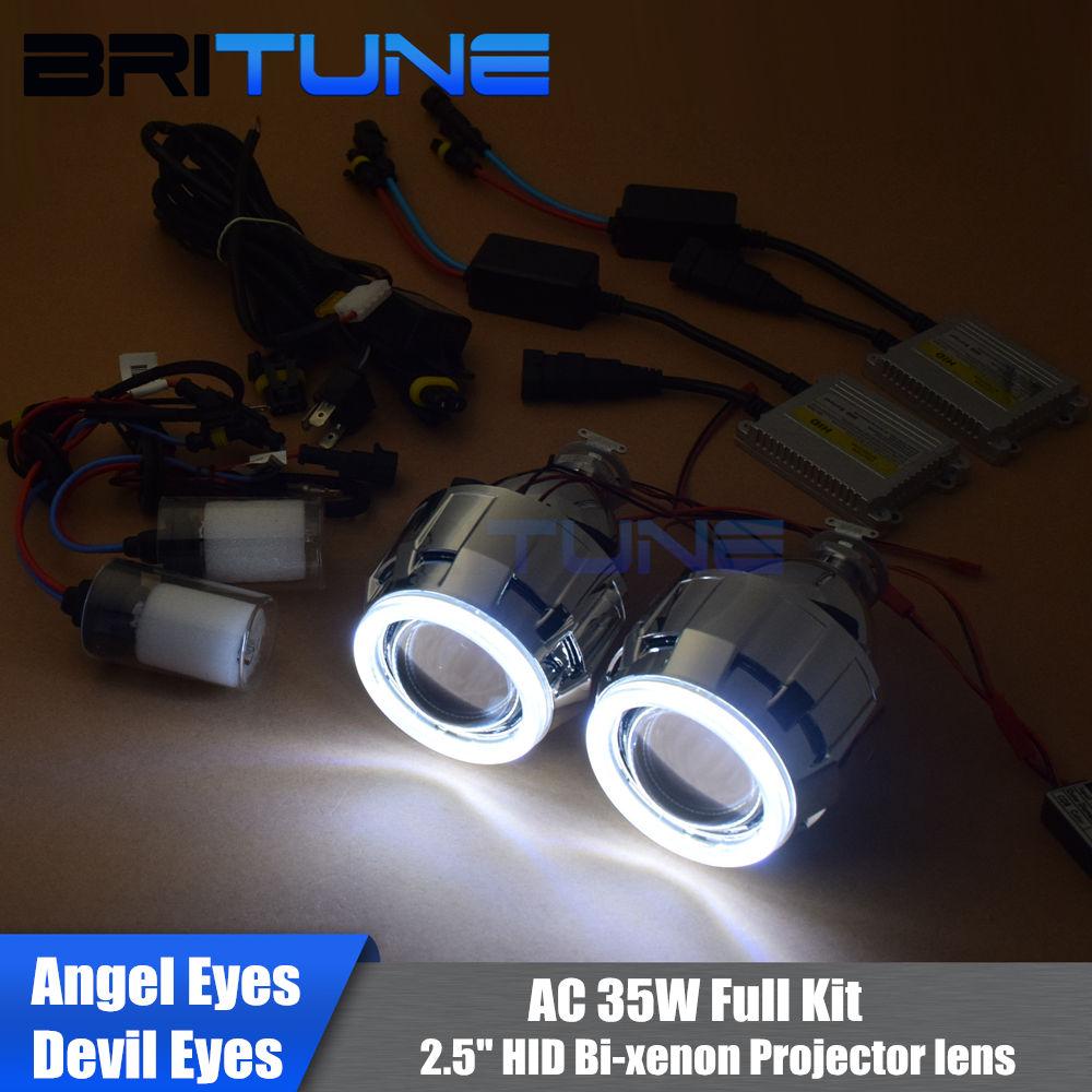 Mise à niveau 8.0 Mini 8.0 2.5 ''HID Bixenon projecteur lentille W/WO LED COB DRL ange diable yeux Halo H1 H4 H7 phare Kit complet bricolage AC