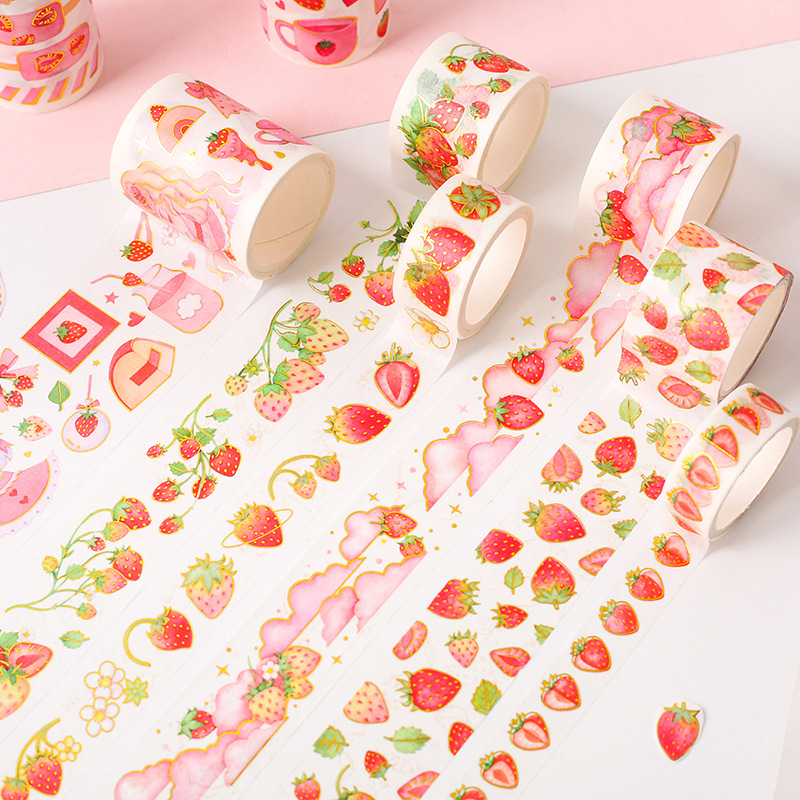 Strawberry Party Series Bullet Journal Gold Washi Tape Cute Decorative Adhesive Tape DIY Scrapbooking Sticker Label Stationery