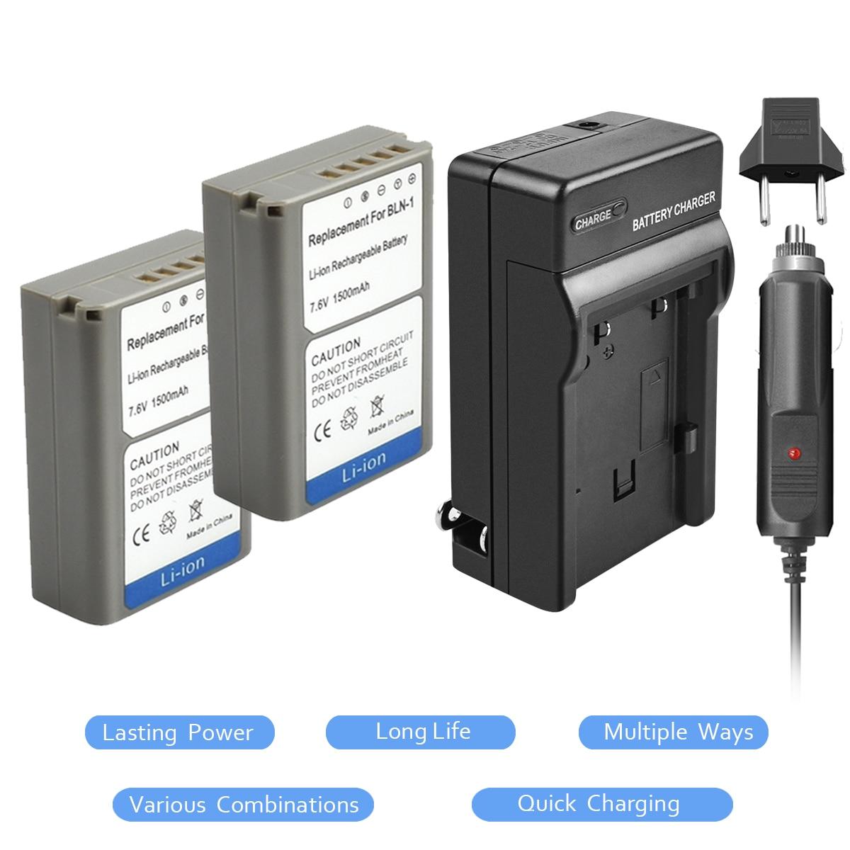 2 Pack BLN-1 PS BLN1 PS-BLN1 Batterie 7.6 v 1500 mah + Chargeur de Batterie + Chargeur De Voiture pour Olympus E-M5 OM-D E-M1 E-P5 E-M5 II Caméra L15