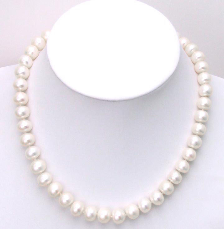 Big 9-10mm Natural White FreshWater Flat Round Pearl 17 Necklace with Sterling Silver CLASP-n5256 wholesale / retail free shipBig 9-10mm Natural White FreshWater Flat Round Pearl 17 Necklace with Sterling Silver CLASP-n5256 wholesale / retail free ship