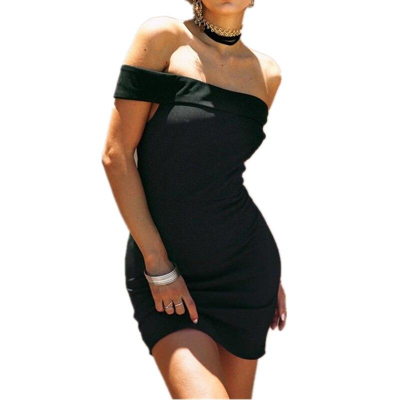2017 New Casual Short Black Dresses Women Clothing  Summer Dresses Fashion Elegant Off Shoulder Sexy Dresses AB178