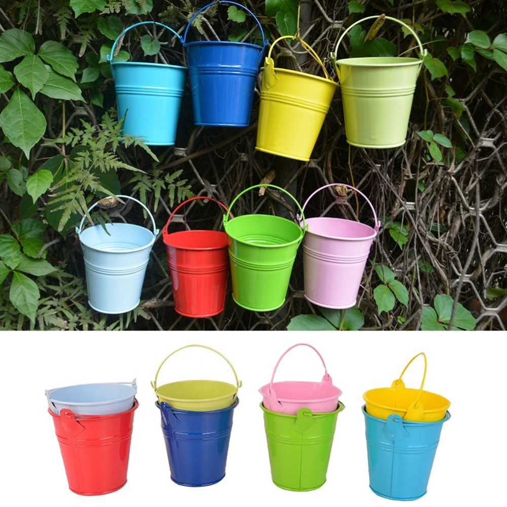 Exceptional Hanging Plant Pots Online Part - 11: 10PCS Flower Pots Iron Hanging Flower Pots,Balcony Garden Pots Wall Planters  Metal Bucket Flower
