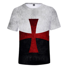 New Templar Knight T Shirt White 3D Summer Breathable Mens O Neck Tshirt Short Sleeve Mark Print Boys Streetwear