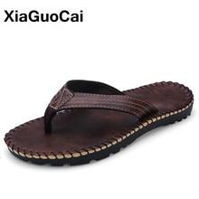 Xiaguocai Лето 2017 г. мужские тапочки модная обувь из искусственной кожи мужские повседневные Вьетнамки легкие пляжные стринги X46 65