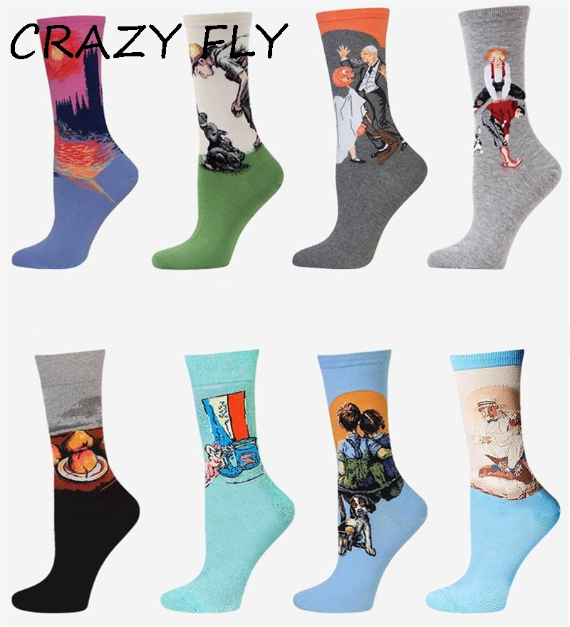 CRAZY FLY 1 pair Women 3D Retro Art   Socks   Cotton Retro Vintage Van Gogh Mural World Famous Painting Funny   Socks   Dropshipping