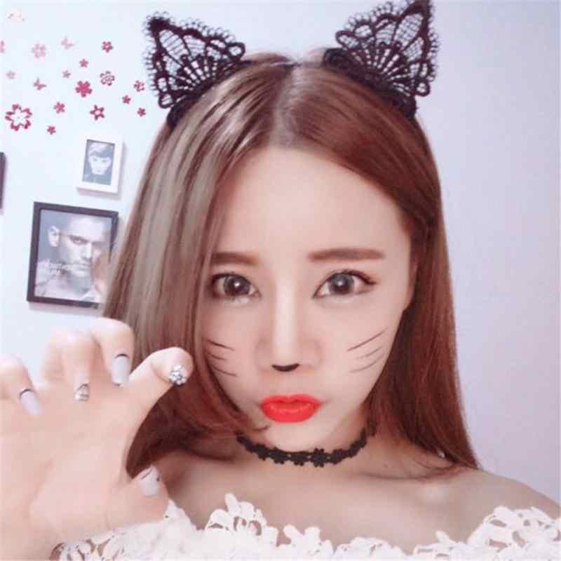 ผู้หญิงผมยืดหยุ่น Headbands แฟชั่นสีดำ Lace Cat Ears Hairband ถ่ายภาพแต่งงานภาพสไตล์ผม Hoop อุปกรณ์เสริมผม