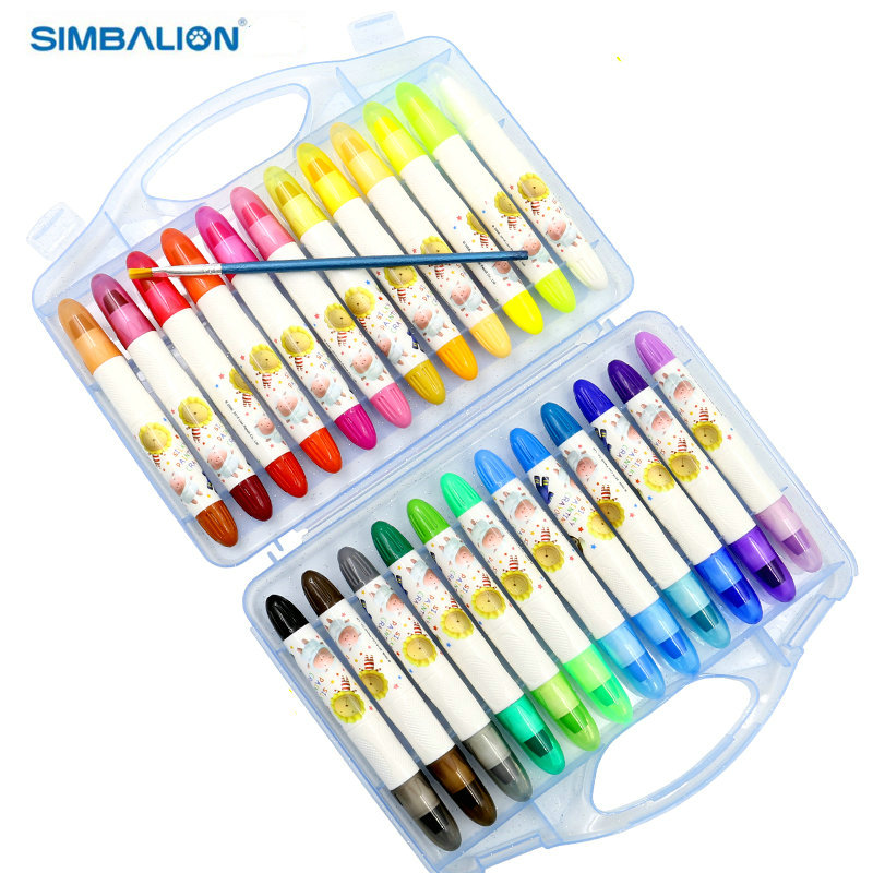 Simbalion CY-102 Colorful Silky Crayons12/24 Color Set water-soluble rotating oil painting stick child paint brush plastic Case