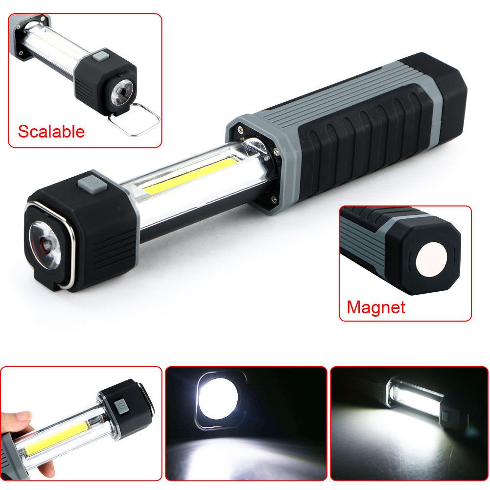 Fashion 2 in1 3W COB LED Stretchable Flashlight Torch Working Lamp Camping Light with St ...